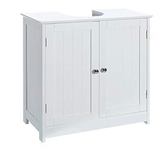 31UAg9aX5aL. SS324  - Casa Selección Armario bajo Lavabo Minimalista Blanco de Madera para Cuarto de baño Vitta, 60 X 30 X 60 CM