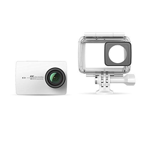 Preisvergleich Produktbild YI 4K Action Kamera Weiß mit wasserdichtem Gehäuse, 4K/30fps 12MP Action Cam mit 5,56 cm (2,2 Zoll) LCD Touchscreen, Wifi und App für IOS/Andriod, Elektronische Bildstablisierung EIS, Sprachbefehl