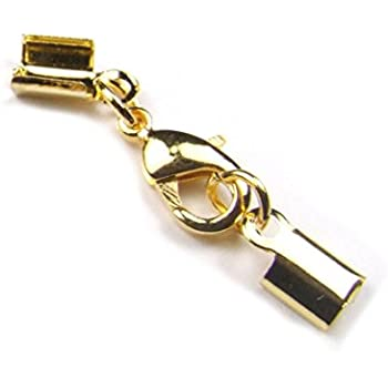 goldfarben 10er Pack Endkappen f/ür 6 mm Band Schmuckverschluss Lederband