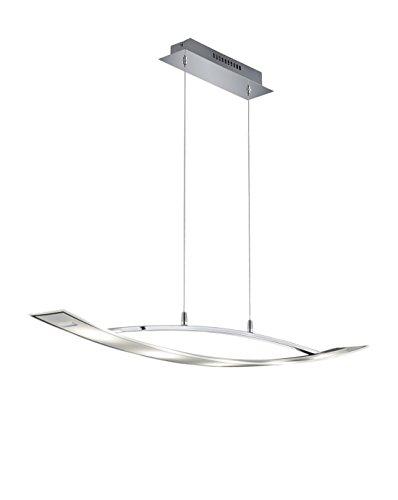Trio Leuchten LED-Pendelleuchte Teano chrom, Glas klar / satiniert 376910506