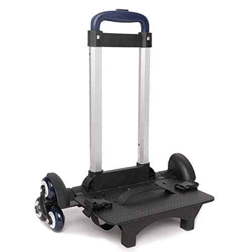 Protauri bambini carrello per zaino di scuola - pieghevole - carrello a mano con ruote, carrello da viaggio per bagagli da studente con fibbie (6 ruote blu)