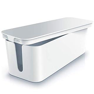 CSL - Kabelbox mit Gummifüßen | Kabelmanagement | Kabelkasten | Box zum Kabel verstecken | Mehrfachstecker-Organisator | Handy Ladebox | Schutz und Sicherheit | Anti-Rutsch-Boden | weiß