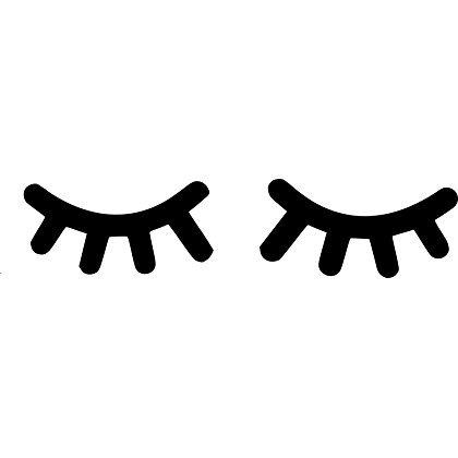 Wand-Aufkleber für das Kinderzimmer, Motiv: schlafende Wimpern, je Wimper (Schwarz-wand-aufkleber)