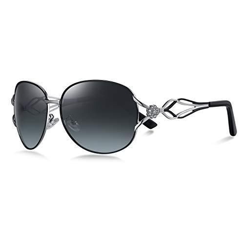 WHCREAT Moderne Mode Polarisierte Sonnenbrille für Damen Farbverläufe Brillen (Schwarz Linse)
