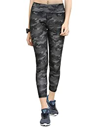 Claura Green Printed Slim Fit Ankle Length Sports Tights for Women