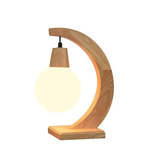 Europäische Massivholz Tischlampen, Kreative Runde LED Glaskugel Beleuchtung Tischlampe Moderne Wohnzimmer Studie Schreibtisch Licht Mode Leseleuchten