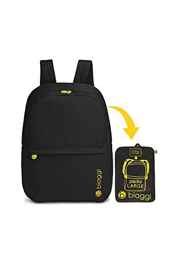 Biaggi Luggage Paksak Packable Backpack, Black, One Size