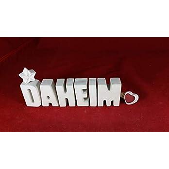 Beton, Steinguss Buchstaben 3 D Deko Schriftzug DAHEIM mit Stern und Herzklammer als Geschenk verpackt! Ein ausgefallenes Geschenk als Deko Schriftzug für einen schönen Platz im Home.