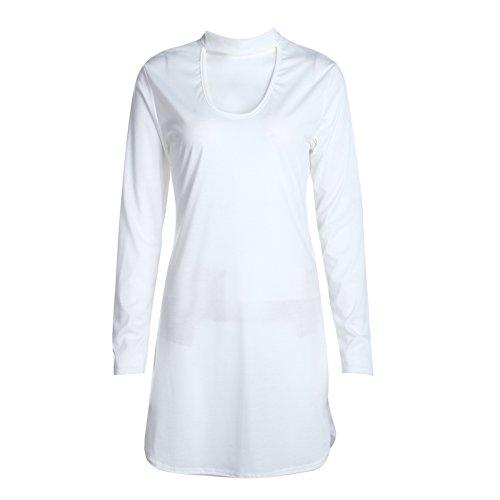 La Cabina Femme Sexy Robe à Bretelle Bustier Suspendue fesse Manche Longue Robe Noble pour Soirée Cérémonie Mariage et Soirée Cocktail Blanc
