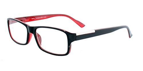 STRIKE Lesebrille Lesehilfe mit Two Tone Kunststoffrahmen und Flexbügeln schwarz rot unisex +2