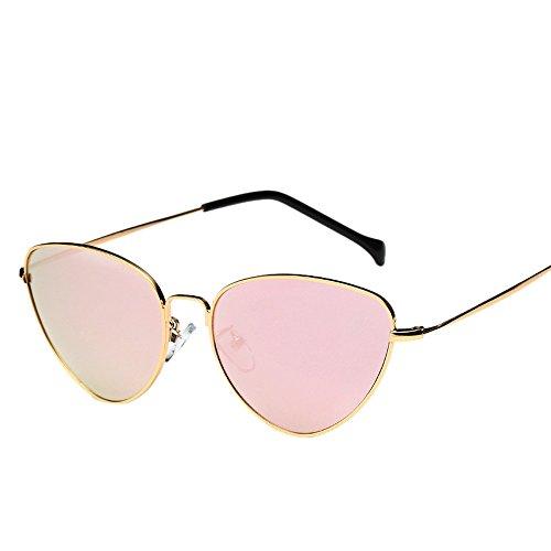 Aviator Mirror Lens Travel Sonnenbrille, ZEZKT Unisex-Sommer Weinlese Retro Katzen Augen Gläser (Gold)