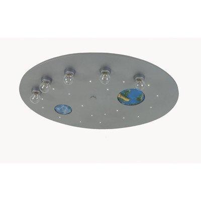 Niermann Standby Deckenleuchte Weltall titan XXL, LED-Schlummerlicht mit Fernbedienung, Mond und Erde leuchten im Dunkeln 756