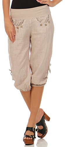 Beige Capri-hose (malito Damen Capri Hose aus Leinen | Stoffhose in Unifarben | Freizeithose für den Strand | Chino – kurze Hose 6302 (beige, M))