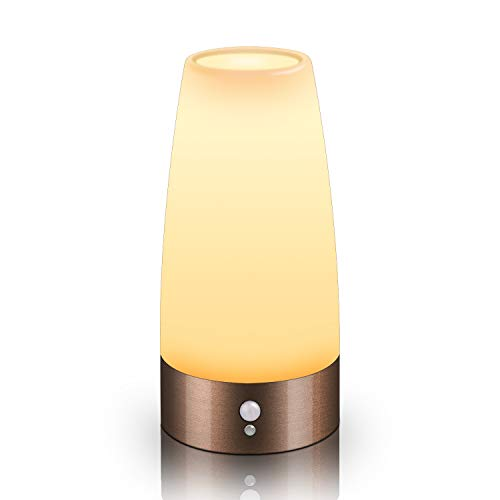Aappy Bewegungsmelder Nachtlicht, batteriebetriebene Lampe, tragbare drahtlose LED-Tisch-Bett-Schreibtisch Leuchten für Schlafzimmer, Flur, Bad, Küche, Wohnzimmer (Rundes Kupfer)