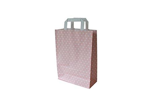 Papiertragetaschen mit Flachhenkel Punkte ROSÉ (18 + 8 x 22 cm, 25 Stück)