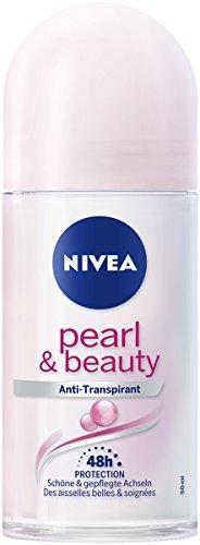 Nivea Pearl (NIVEA Pure Pearl & Beauty Deo Roll On im 6er Pack (6 x 50 ml), Antitranspirant Roller für gepflegte Achselhaut, Deodorant mit 48h Schutz)