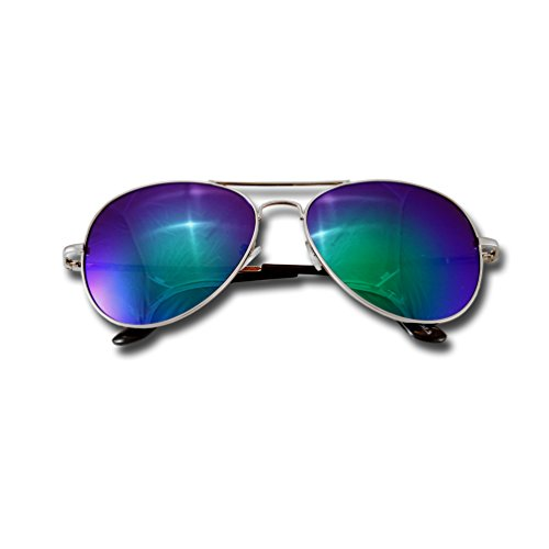 Sonnenbrille Pilotenbrille Fliegerbrille Pornobrille Brille Verspiegelt Aviator (Türkis 7)
