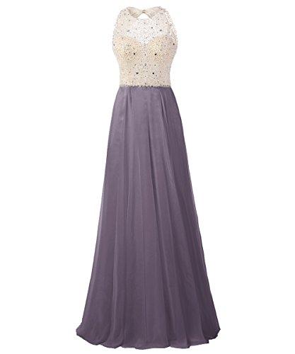 Dresstells Damen Rückenfrei Abendkleider Friesen Cocktail-Kleider Grau