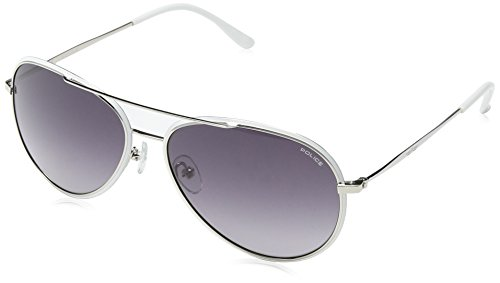 Police - Occhiali da sole S8299 Glory Aviatore, SHINY PALLADIUM FRAME / LIGHT SMOKE GRADIENT LENS