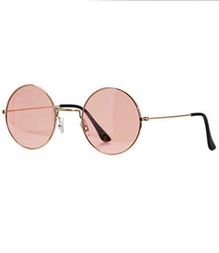 Caripe Lennon Retro Vintage Sonnenbrille Metall Damen Herren rund Nickelbrille (6826 - Gold - rosa getönt)