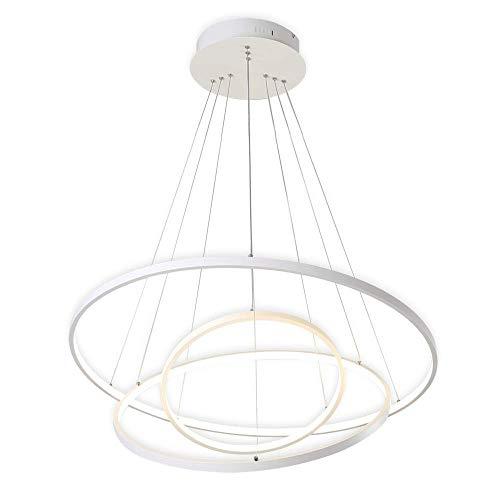 72W LED Pendelleuchte Esstisch Modern Drei Ring Design Lampe Innen Beleuchtung Hängelampe Acryl Kreative Leuchte Dekoration Kronleuchter für Wohnzimmer Esszimmer Dimmbar Stufenlos Lüster , Weiß -