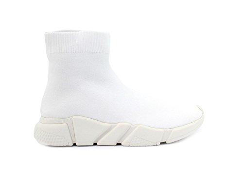 Jeffrey Campbell Redman White Weave Sock, White Sole, Sneaker a Collo Alto Donna 37