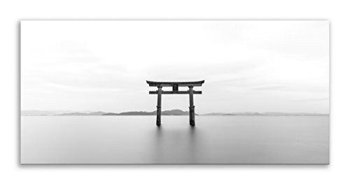 Thousand Face Torii Japan Leinwandbild, See, Schwarz-Weiß, Panorama-Wandbild, Dekoration für Wohnzimmer, Badezimmer, Schlafzimmer, Küche, Bild (76 x 36 cm)