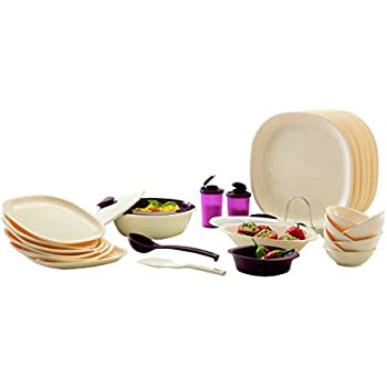Signoraware Square Dinner Set, 29-Pieces, Off White/Maroon