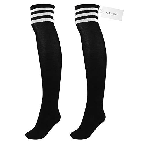 CHIC DIARY Damen Mädchen Kinder Strümpfe Overknee Kniestrümpfe gestreifte Sportsocken College Socks Baumwollstrümpfe, Weiß Streifen auf Schwarz, Einheitsgröße
