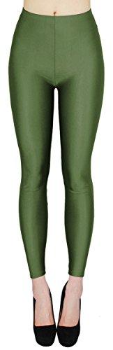 Glanz Leggings Damen Bunte Tanz Leggings glänzende Leggins Shiny One Size - JL116 (One Size - geeignet für Gr.36-38, JL116-Armygrün)