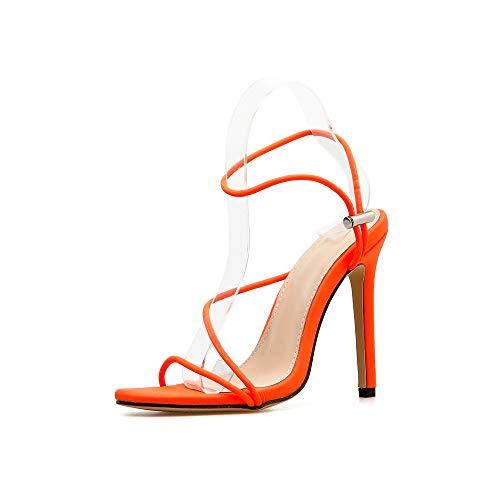 XHDD Frauen Sandalen High Heels Schuhe Candy Farbe Schnalle Fischmund Party Kleid Größe 40-42