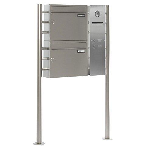 2er Edelstahl Standbriefkasten BASIC 810-SP mit Klingel – Namensschilder – GIRA Kamera & Einbaulautsprecher - 2