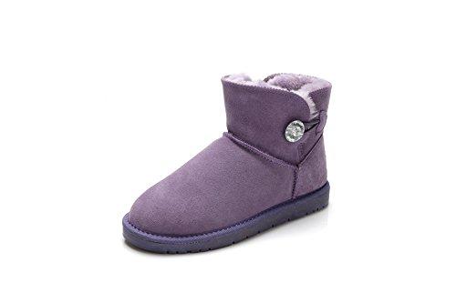 Qin & X Bottes De Neige À Fond Épais Femme Chaude Gratuit Chaussures Violettes