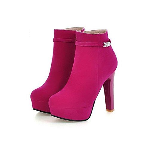 Voguezone009 Tondo Camoscio Tacco Con Solido In Di Zip Stivali Donna Colore Rosso Alto 8WEHqrwBEn