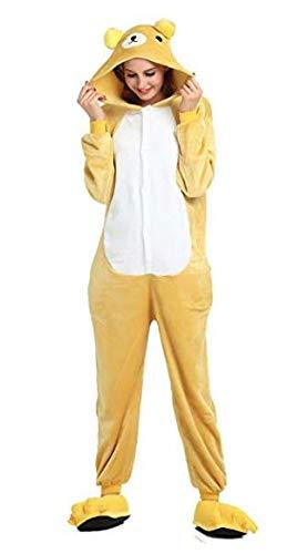 Bär Ganzkörper Tier-Kostüm für Erwachsense - Plüsch Einteiler Overall Jumpsuit Pyjama Schlafanzug - Gelb/Weiß - Gr. ()