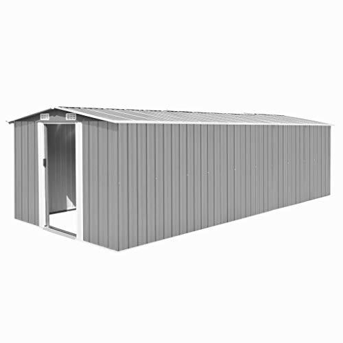 tidyard Caseta de Jardín Exterior con 4 Ventilación para Almacenamiento de Herramientas de A Prueba de Polvo y Resistente a la Intemperie de Acero Galvanizado 257x597x178 cm Gris