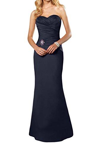 Gorgeous Bride Satin semplice Sweetheart lungo abito da Partito di Sera Vestito Formale Navy blue 24 W