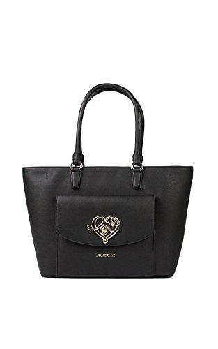 Borse Shopping Love Moschino Donna Poliuretanica Nero e Oro JC4039PP12LD0000 Nero 14x27x33 cm