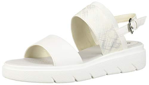 Geox Damen Tamas 4 Flache Sandale, weiß, 41 EU - Perforierte Leder-plattform