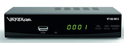 Vantage VT-65 HD C HDTV Kabelreceiver (HDMI-Anschluss, Scart-Anschluss, Teletext, übersichtliches EPG-Menü, USB-Anschluss für Musik und Bilderwiedergabe, Installations-Assistent), schwarz