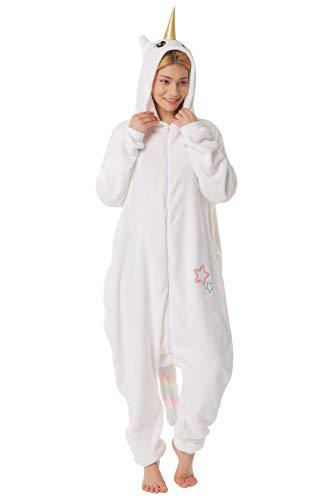 corimori 1852 Damen Herren Onesie Jumpsuit Anzug Verkleidung Kostüm, Mia das Einhorn (Weiß), Körpergröße - Una Das Weiße Einhorn Kind Hoodie Kostüm