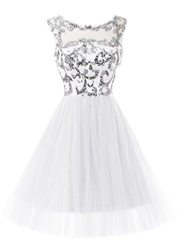 Bbonlinedress Robe courte de soirée de cocktail Robe de bal en tulle forme princesse emperlée Blanc