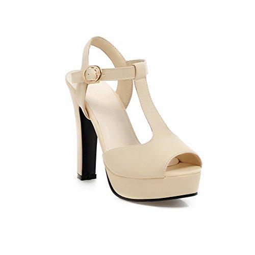 VogueZone009 Damen Rein Schnalle Fischkopf Schuhe Sandalen Mit Hohem Absatz Aprikosen Farbe
