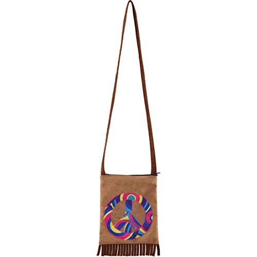 NET TOYS Hippie Tasche 70er Jahre Damentasche Peace Fransentasche Flower Power Handtasche Friedenszeichen Damenhandtasche 60er Jahre Mottoparty Accessoires Karneval Kostüme - 60er Ära Kostüm