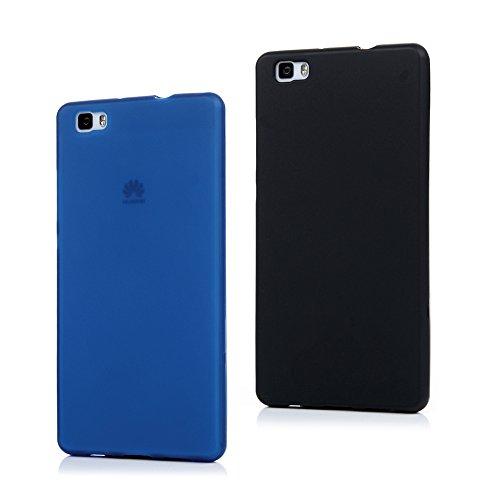 2x Cover Huawei P8 Lite Silicone, Custodia Morbido TPU Opaco - MAXFE.CO Case Antiscivolo Satinato, Ultra Sottile Cassa Flessible Protettiva - Nero, Blu scuro