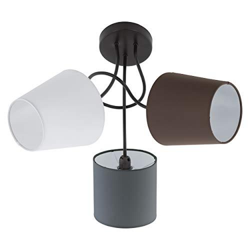 EGLO Deckenlampe Almeida, 3 flammige Textil Deckenleuchte, Material: Stahl, Stoff, Farbe: Schwarz, anthrazit, weiß, braun, Fassung: E14