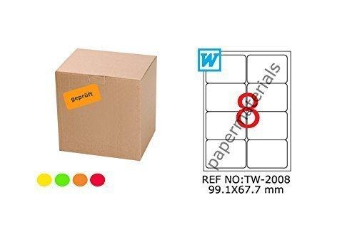 TANEX TW de 2008fluorescentes etiquetas Naranja 99,1x 67,7mm-Redondeadas de 25Bl. A4