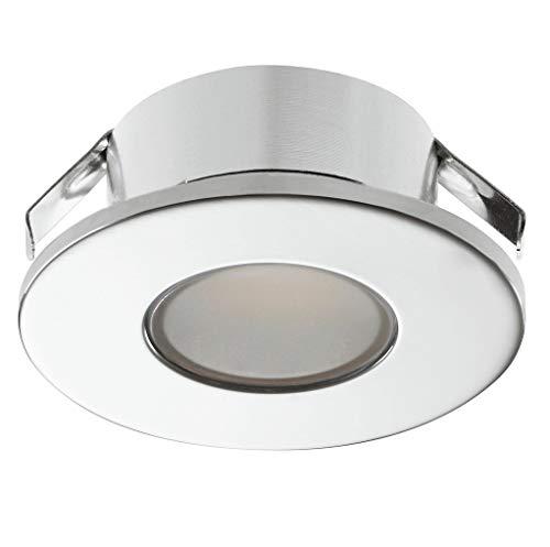 Gedotec LED Möbel-Einbauleuchte verchromt poliert Unterbauleuchte 2022 Spotleuchte rund | Möbelleuchte warmweiß 3000 K - 12V | LED-Anbauleuchte für Einsatz in Feuchträumen & Badezimmer | 1 Stück