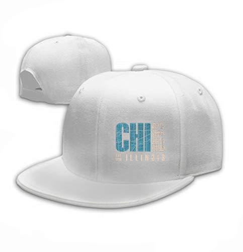 Unisex Style Strapback Hat Baseball Cap Chicago Illinois Print Design Stamp Label Typography White