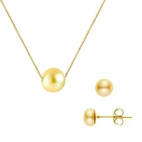Pearls & Colors Pearl Set Necklace and earrings 9carat Yellow Gold Freshwater Pearl–am-pared